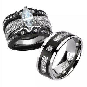 His & Her stainless steel/ Titanium matching ring